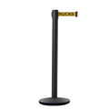 CCW Series IRBB-100 Retractable Belt Barrier Black Post, Cast Iron Base - 9 Ft. Belt