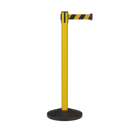 CCW Series RBB-100 Retractable Belt Barrier Stanchion, Sloped Base, Yellow Post - 11 ft. Belt