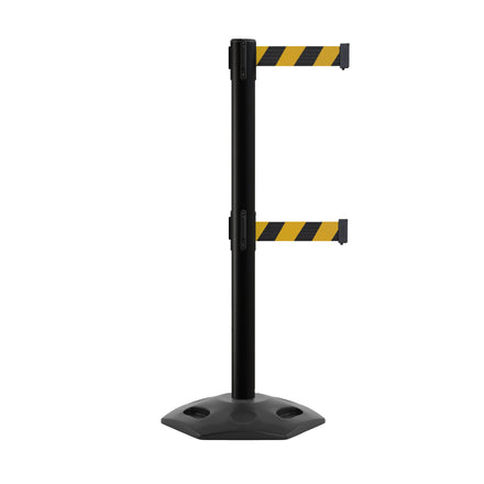 Outdoor Safety Retractable Dual Belt Barrier, Rubber Base, Black Post - CCW Series WBB-200D
