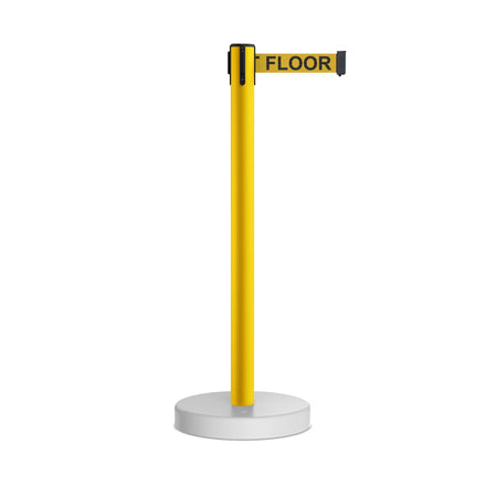CCW Series WFBB-100 Stanchion Belt Barrier Water Fillable Base Yellow PVC Plastic Post with 7.5 Foot  Belt