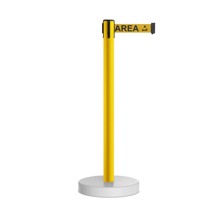 CCW Series WFBB-100 Stanchion Belt Barrier Water Fillable Base Yellow PVC Plastic Post with 11 Foot  Belt