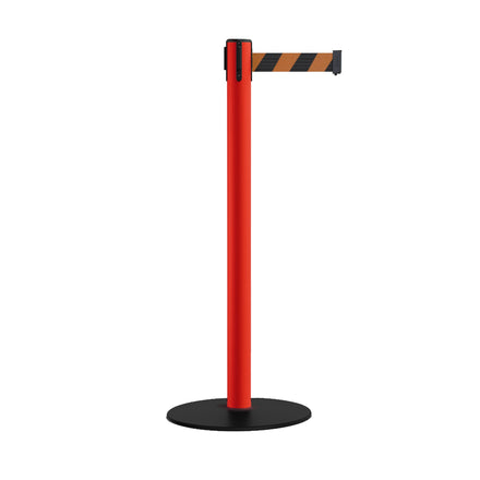 CCW Stanchion Retractable Belt Barriers, Low Profile Steel Base, Red Post - 11 Ft. Belt