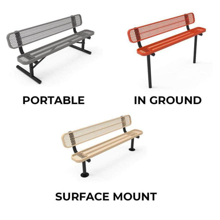 Double Pedestal Park Bench with Back - Circular Pattern