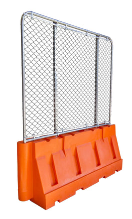 "Water/Sand Fillable Jersey Barrier with Fencing Option -  32"" H x 72"" L x 24"" W"