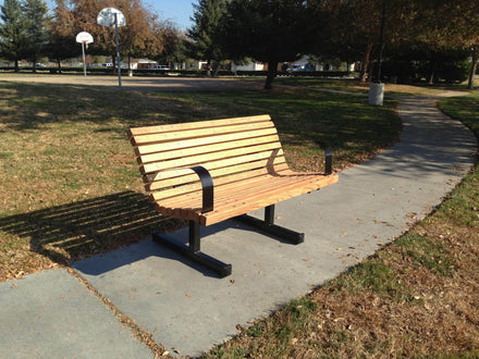Spine Wood Park Bench With Arms - 5 Ft.