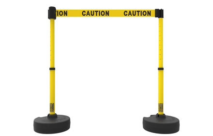 Set of 2 Banner Stakes PLUS Line Stanchions with 15 ft Belt Head, Stake, and Base