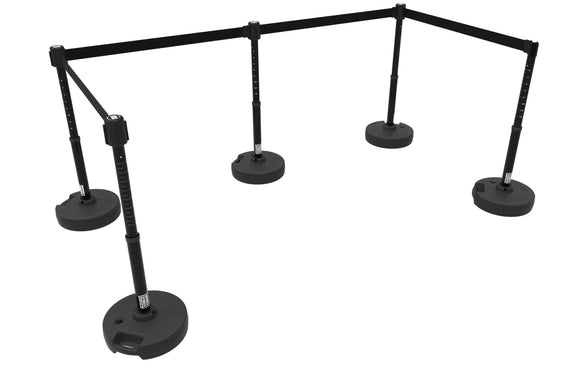 Set of 5 Banner Stakes PLUS Line Stanchions with 15 ft Belt Head, Stake, and Base
