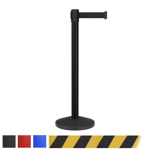 CCW Series RBB-100 Retractable Belt Barrier Black Post - 7.5 Ft. Belt