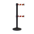 CCW Series RBB-100D Dual Retractable Belt Barrier Black Post - 10 Ft. Belt