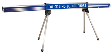 Blue 10 Ft. Expanding Portable Barricade with message Police Line Do Not Cross
