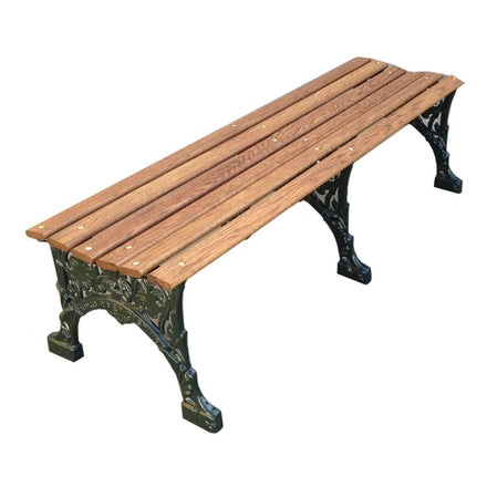 Floral Wood Backless Park Bench - 60 In.