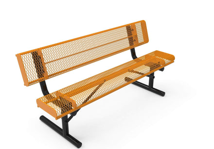 Rolled Park Bench with Back - Diamond Pattern