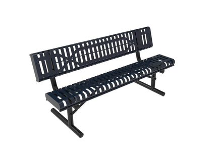Rolled Park Bench with Back -  Slatted Steel