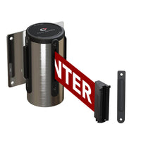 Wall Mounted Retractable Belt Barrier Fixed, Stainless Steel Case, 8.5 and 11 Ft. Belt - CCW Series WMB-120