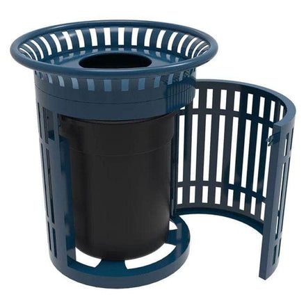 Skyline Trash Receptacle with Flared Top and Side Opening - 32 Gallon Capacity