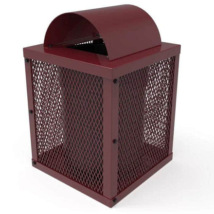 Square Trash Receptacle with Arched Rain Bonnet Lid - 32 Gallon Capacity