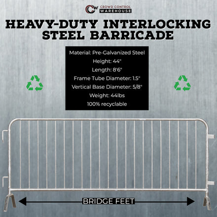 *SUPER BUY* Pack of (30) 8.5 Ft. Heavy Duty Angry Bull Interlocking Steel Barricades with (1) Storage Pushcart