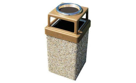 Concrete Waste Container with 4-way Lid and Ash Snuffer - 7 Gallon Capacity