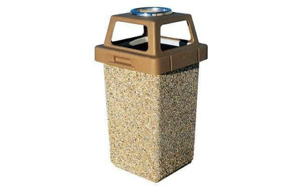 Concrete Waste Container with 4-way Lid and Ash Snuffer - 30 Gallon Capacity
