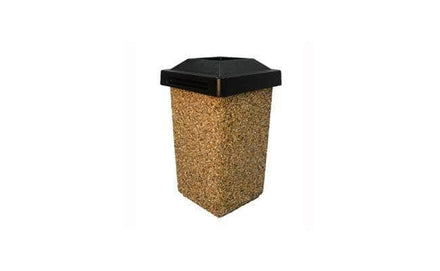 Concrete Waste Container with Pitch-In Lid - 30 Gallon Capacity