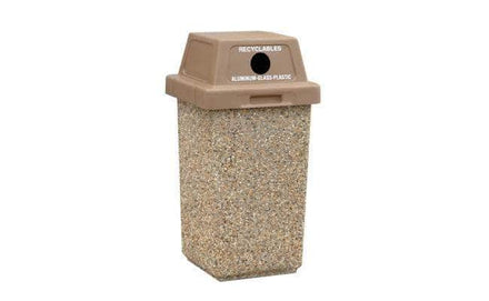 Concrete Waste Container with Recycling Lid - 30 Gallon Capacity