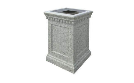 Square Concrete Waste Container with Pitch In Lid - 22 Gallon Capacity