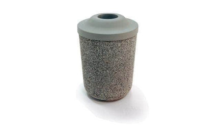 Round Concrete Waste Container with Pitch In Lid - 31 Gallon Capacity