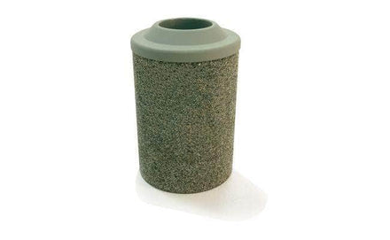 Round Concrete Waste Container with Plastic Pitch In Lid - 53 Gallon Capacity