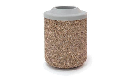 Round Concrete Waste Container with Pitch In Lid - 42 Gallon Capacity
