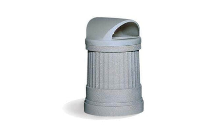 Decorative Round Concrete Waste Container with Plastic 2-way Lid - 31 Gallon Capacity