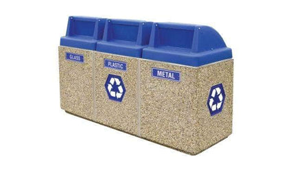 3-Bin Concrete Recycling/Trash Waste Container