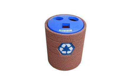Stylized Concrete Waste Container with 3-Hole Plastic Recycle Top