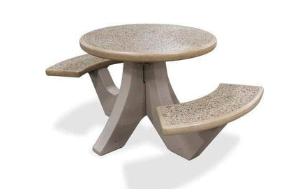 Two Bench Seat Round Concrete Picnic Table