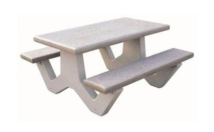 Precast Concrete Rectangular Picnic Table with Attached Benches