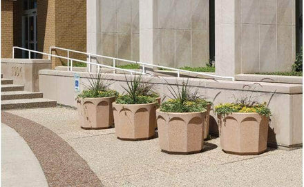 Large Round Concrete Planter - 30 in. x 24 in.