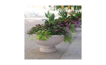 Concrete pedestal base for sale shown with planter, planter not included