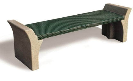 6 Ft. Flared Arm Backless Park Bench with Metal Form Seat and Concrete Legs