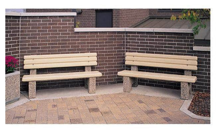 6 Ft. Precast Solid Concrete Park Bench with Back