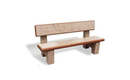 6 Ft. Solid Concrete Park Bench with Back