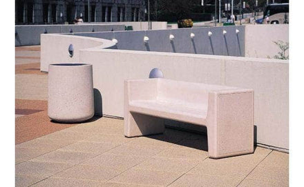 6 Ft. Algiers High Arm Rectangular Concrete Bench with Back