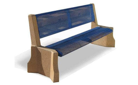6.5 Ft. Armless Park Bench with Metal Form Seat and Back with Concrete Legs