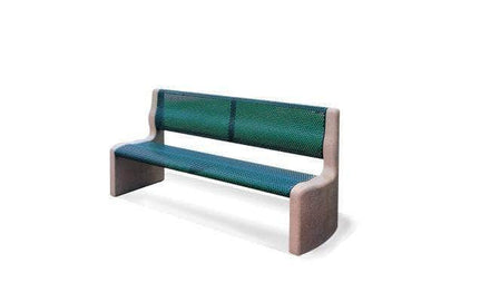 Armless Park Bench with Metal Form Seat and Back with Concrete Legs