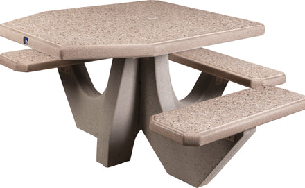 Three Bench ADA Accessible Square Concrete Picnic Table