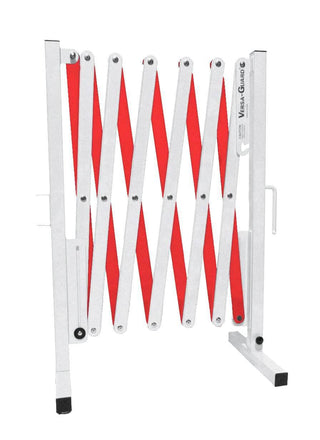 Safety White and Red Versa-Guard Heavy Duty 11 Ft. Standard Length Expanding Barricade