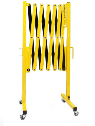 Safety Yellow and Black Versa-Guard Heavy Duty 11 Ft. Extra Height Expanding Barricade