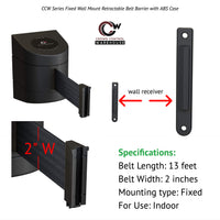 CCW Series WMB-220- Wall Mounted Retractable Belt Barrier With Black Fixed ABS Case- 10, 13, & 15 Ft. Belts