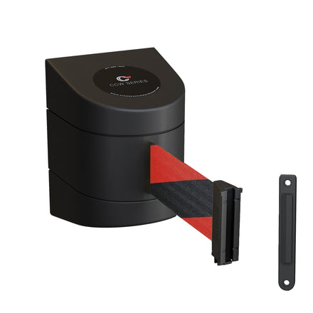 CCW Series WMB-220- Wall Mounted Retractable Belt Barrier With Black Fixed ABS Case - 7.5, 10, 13, & 15 Ft. Belts