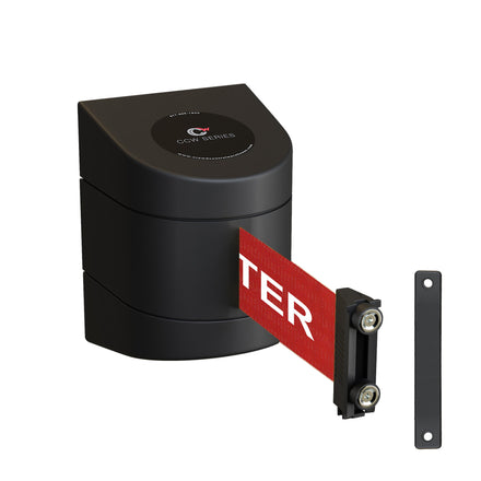CCW Series WMB-230- Wall Mounted Retractable Belt Barrier With Black Magnetic ABS Case- 20, 25, & 30 Ft. Belts