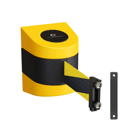 CCW Series WMB-230- Wall Mounted Retractable Belt Barrier - Yellow Magnetic ABS Case- 20, 25 & 30 Ft. Belts