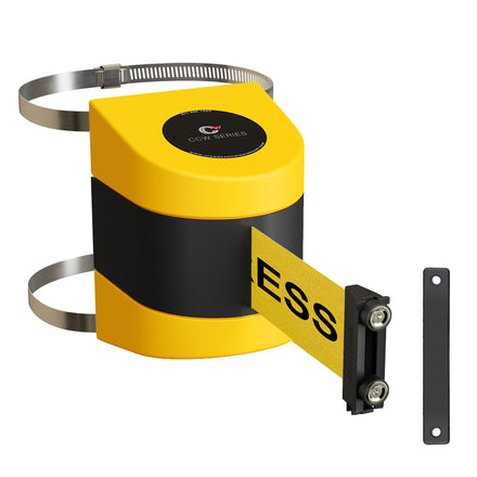 CCW Series WMB-230 Clamp Wall Mount With Yellow Magnetic ABS Case - 20, 25, and 30 Ft. Belts